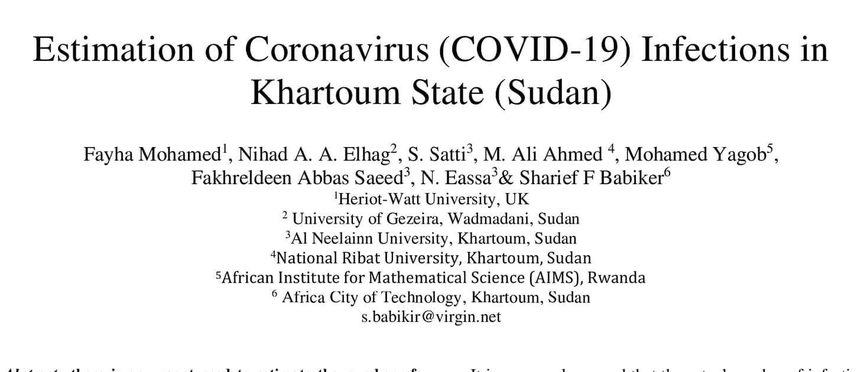 بحث عن تقدير عدد الاشخاص المصابين بالكورونا -ولاية الخرطوم