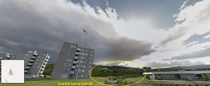 Leiksvæði bakvið blokkirnar í Hamragerði 3,5 og 7