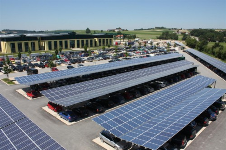 Photovoltaic panels over Park and Ride facilities