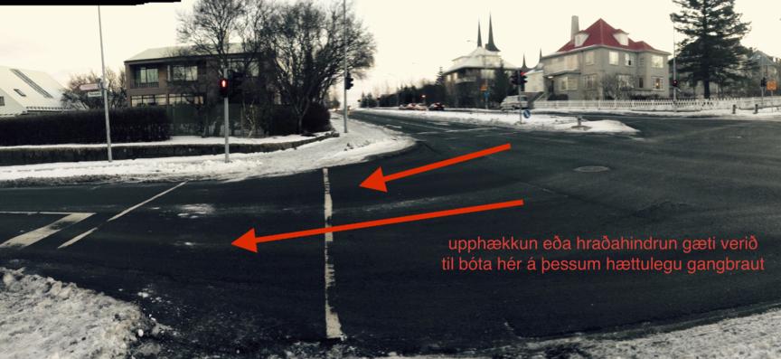 Hættuleg gönguljós við Flókagötu og Lönguhlíðar