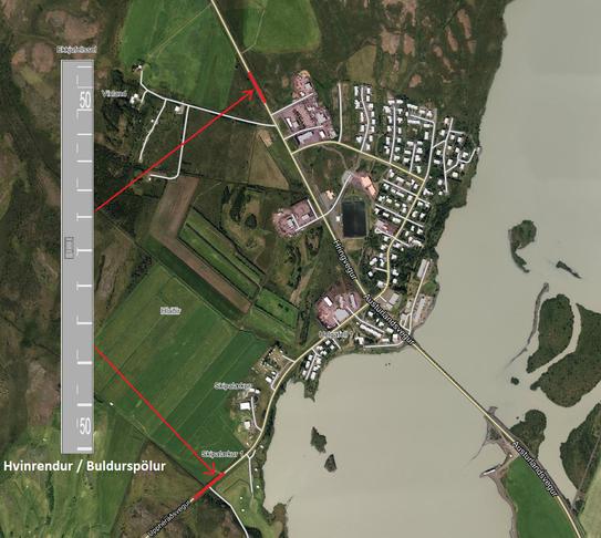 Hvinrendur/buldurspelir við aðkomu í Fellabæ