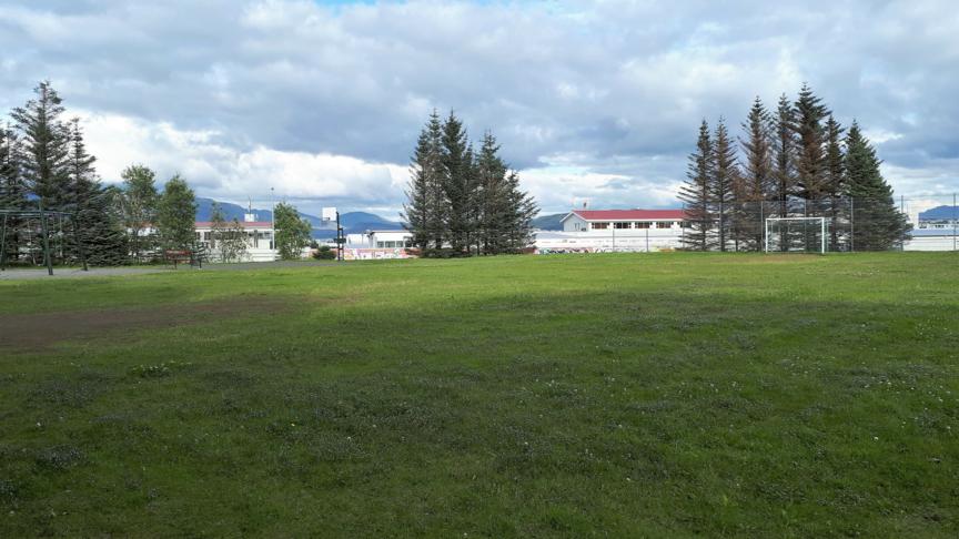 Íþróttasvæði - fótboltavöllur og körfur