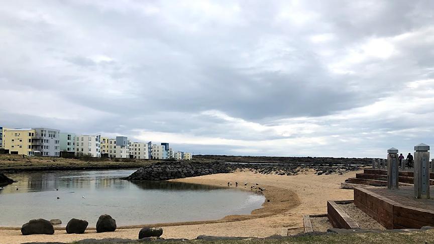 Sturtuaðstaða við ströndina á Sjálandi