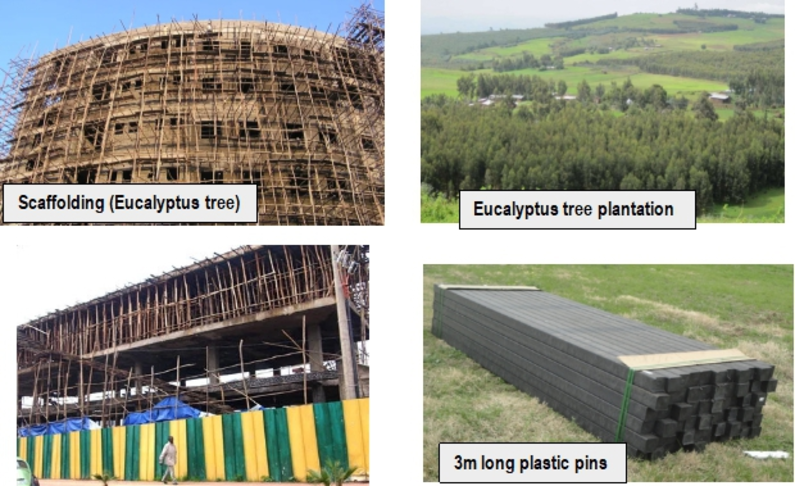 Use of recycled plastics in construction for scaffolding