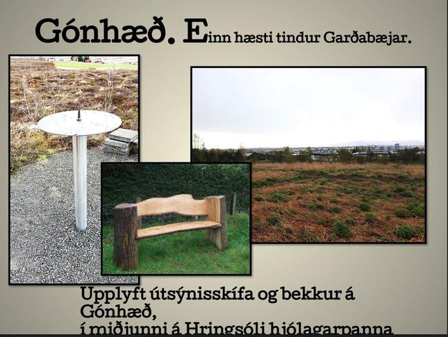 """Útsýnisskífan - ,,Gónhæð"""" á Hofstaðarhæðinni (Efri-Lundir)"""