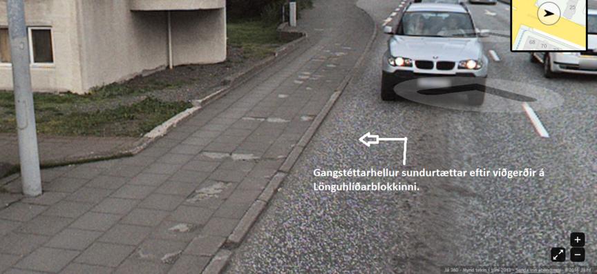 Laga gangstétt á Miklubraut við Lönguhlíðarblokkina