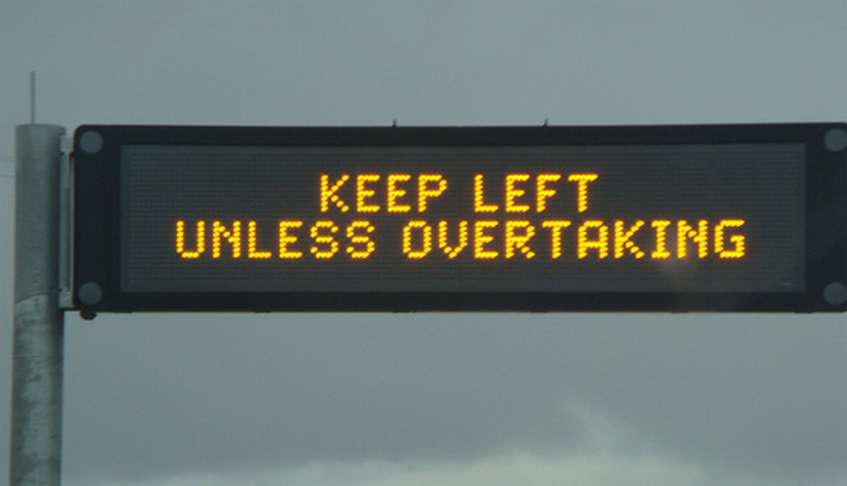 Bus lanes, traffic lights, bumps and overtaking lane