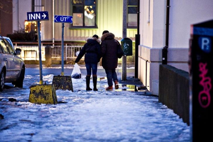 Upphitaðar gangstéttir